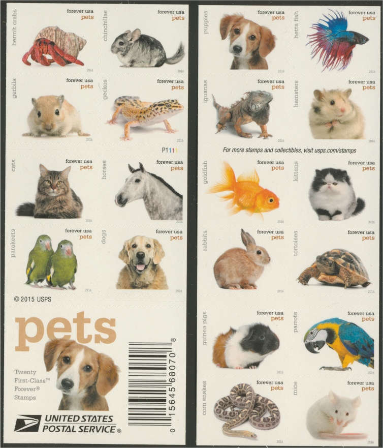 5125a Pets Stamps, Booklet of 20 Different | Dennis R. Abel ...