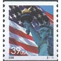 #3979 Flag & Lady Liberty, Water-Activated Coil Perforated 10