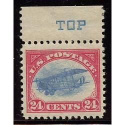 "#C3 24¢ Carmine Rose & Blue, Curtis Jenny, NH, VF, Margin Single blue ""TOP"""