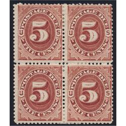 # J18 5¢ Postage Due, Red Brown, Block of Four, CV $2,750.