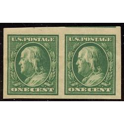 #383 1¢ Franklin Green, Pair with DG