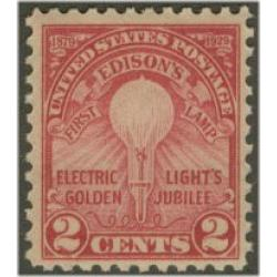 #654 Thomas Alva Edison, First Lamp, Flat Plate, Perforated 11
