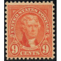 #641 6¢ Jefferson, Orange Red, Fine+, Professionally & Expertly Regummed