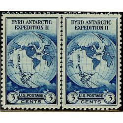#753 Byrd Expedition, Horizontal Pair with Vertical Line
