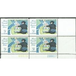 #1322a Mary Cassat Painting, Plate Number Block of 4, Tagged