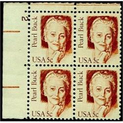 #1848 Pearl Buck, Plate Number Block of 4