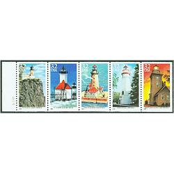 #2973a Lighthouses, Booklet pane of Five