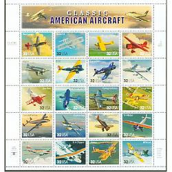#3142 Classic Aircraft, Sheet of 20 Stamps