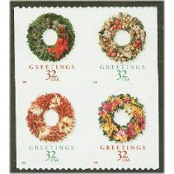 #3248a Christmas Wreaths, Booklet Pane of Four from Vending Book