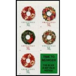 #3248b Christmas Wreaths, Booklet Pane of Five from Vending Book