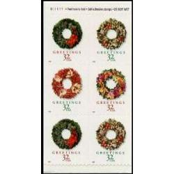 #3248c Christmas Wreaths, Pane of Six  From Vending Booklet
