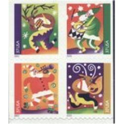 #3828a Holiday Music Makers, Block of Four from Vending Booklet