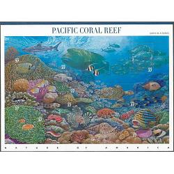 #3831 Pacific Coral Reef, Nature of America Souvenir Sheet of Ten