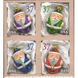 #3890b Holiday Ornaments, Pane of Four, Vending Book