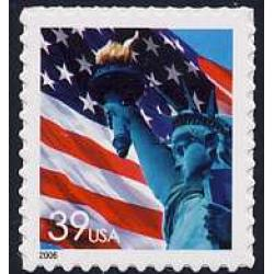 #3978 Flag & Lady Liberty, Single from Self-adhesive Pane of 20