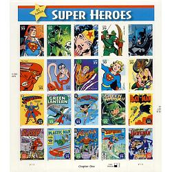 #4084 DC Comic Book Super Heroes, Sheet of 20 Different Stamps