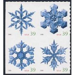 #4116a Snowflakes, Block of Four from ATM Pane of 18 Stamps