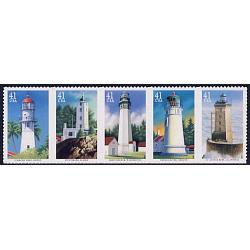 #4150a Pacific Coast Lighthouses, Strip of Five