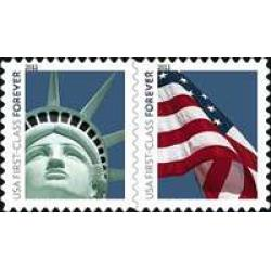 "#4487a Forever Liberty & Flag Stamps, Coil Pair, ""4evR\"""