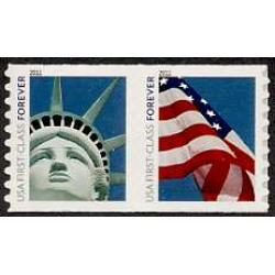 "#4491a Forever Liberty & Flag Stamps, Coil Pair, ""4EVR"""