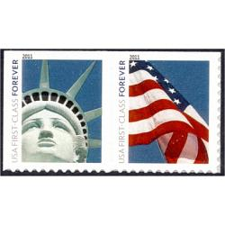 "#4564a Statue of Liberty & Flag, Booklet Pair, ""4EVR"""