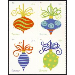#4578a Holiday Baubles, Sennett Printing, Block of Four