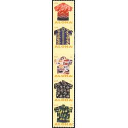 #4686a Aloha Shirts, Strip of Five Attached, From Convertible Book of Ten