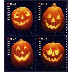#5140a Jack O'Lanterns, Block of Four