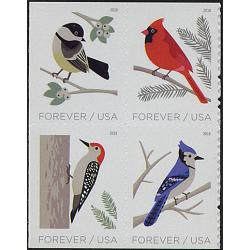 #5320a Birds in Winter, Block of Four