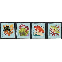 #5363-66 Coral Reefs, Four Singles, Sheet Stamps