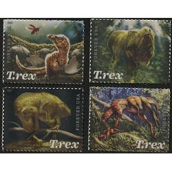 #5410-13 Tyrannosaurus Rex, Set of Four Single Stamps