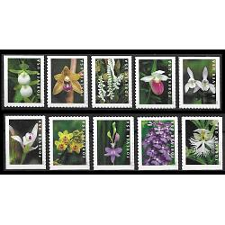 #5445-54 Wild Orchirds, Ten Single Stamps From the Booklet