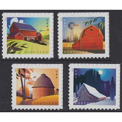 #5546-49 Barns, Set of Four Sheet Singles