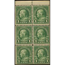 #552a Franklin, 1¢ Booklet Pane of Six