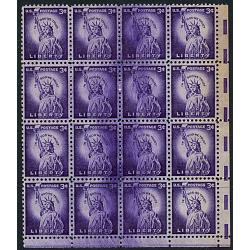 #1035 Liberty, Terrific Ink Smear in Block of 16