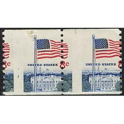 #1338F Flag & White House 8¢, Misperfed