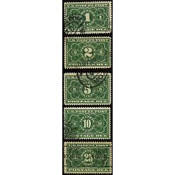 #JQ1-JQ5 Complete Set Parcel Post Postage Due Stamps, USED