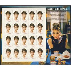 #3786 Audrey Hepburn, Legends of Hollywood, Souvenir Sheet of 20