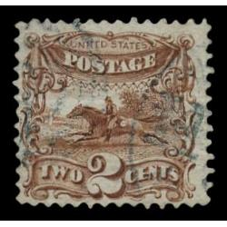 #113 Post Horse and Rider, 2¢ Brown F-VF, PSE Certificate