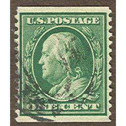 #352 Franklin, 1¢ Green, VF APS Certificate