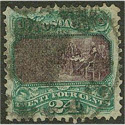#120 Declaration of Independence 24¢ Green & Violet 1869 Issue