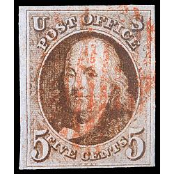 # 1 Benjamin Franklin, 5¢ Red Cancel, Four Margins, PSAG Certificate 85 VF-XF